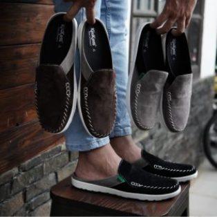 Sepatu pria slip on kickers stitching